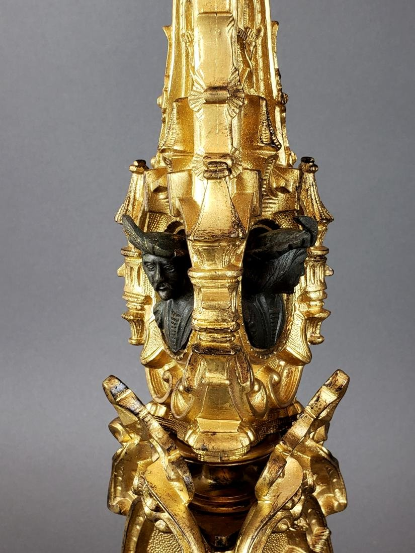 Pair of 19th C. French Gilt & Patinated Bronze Figural - 4
