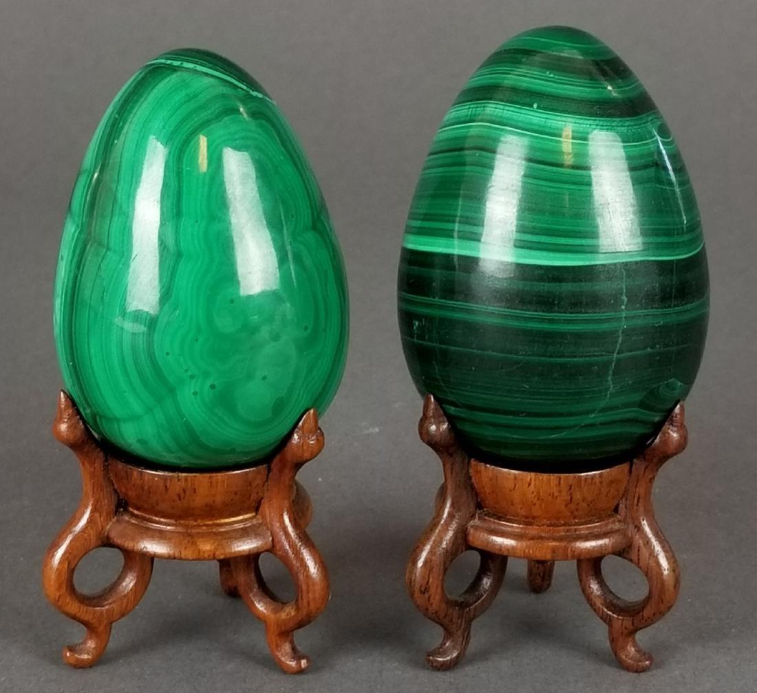 Pair of Russian Malachite Eggs