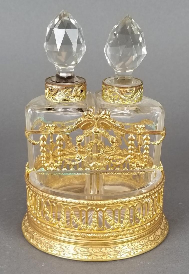 19th C. Bronze & Baccarat Perfume Bottles