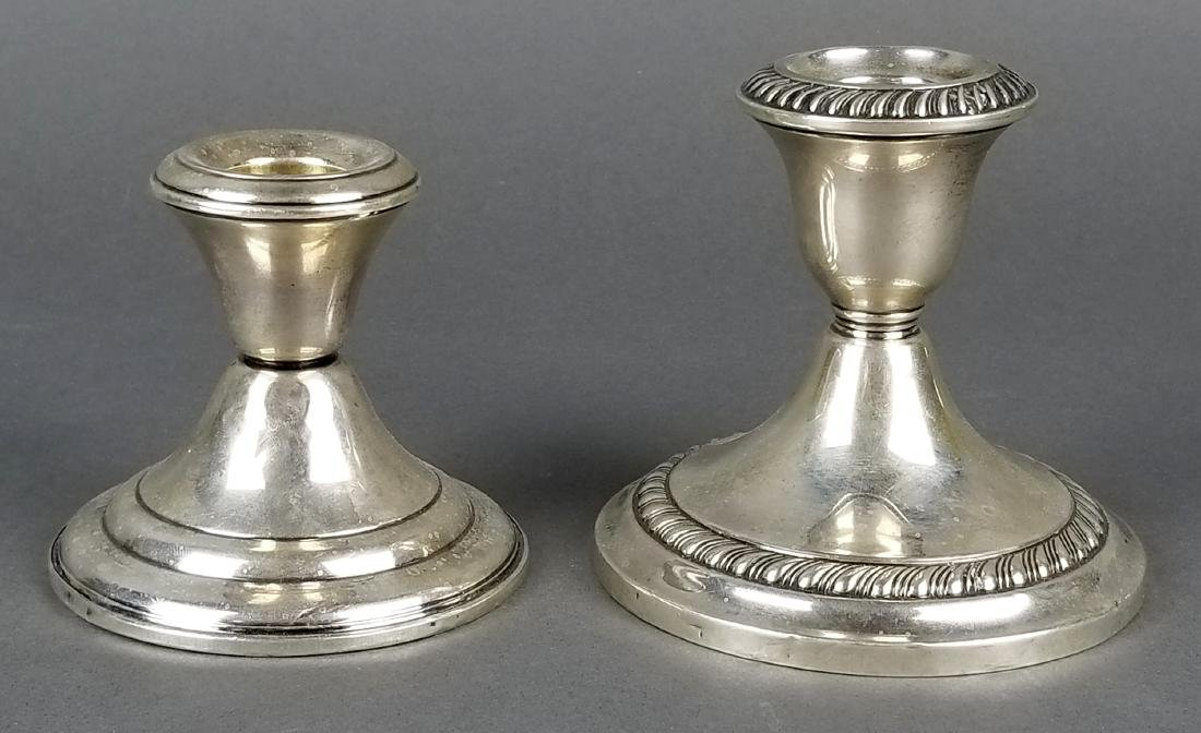 Lot of 2 Sterling Silver Weighted Candlesticks