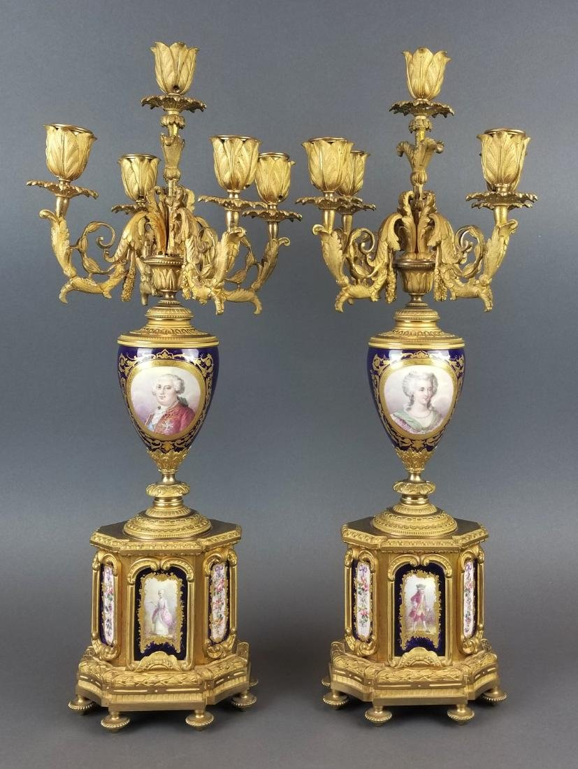 Pair of 19th C. French Sevres Candelabras