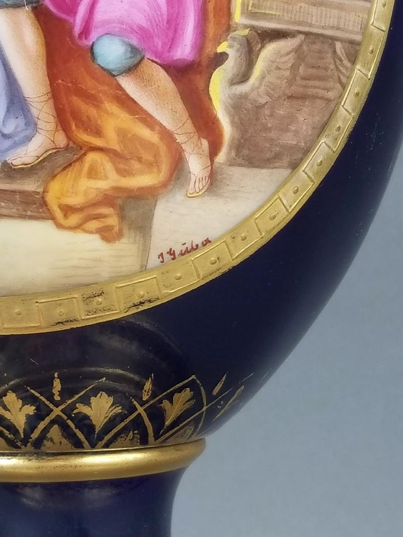 19th C. French Royal Vienna Handpainted Vase on Base - 5
