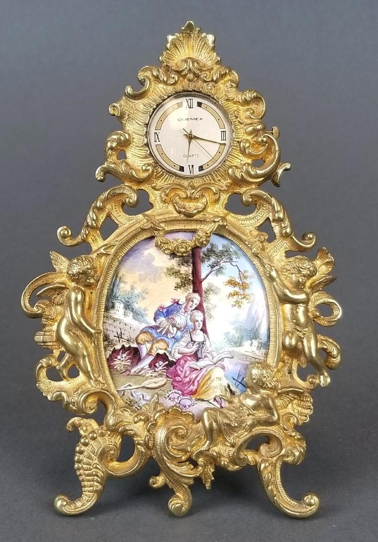 19th C. Veinnese Enamel and Bronze Clock