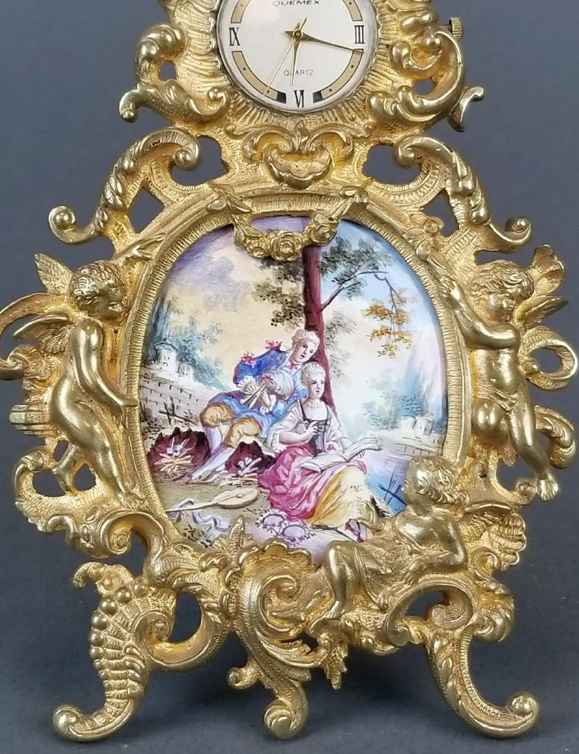 19th C. Veinnese Enamel and Bronze Clock - 2
