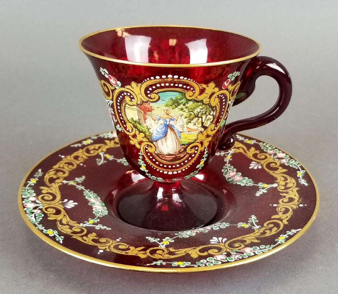 Italian Hand Painted Glass Cup & Saucer
