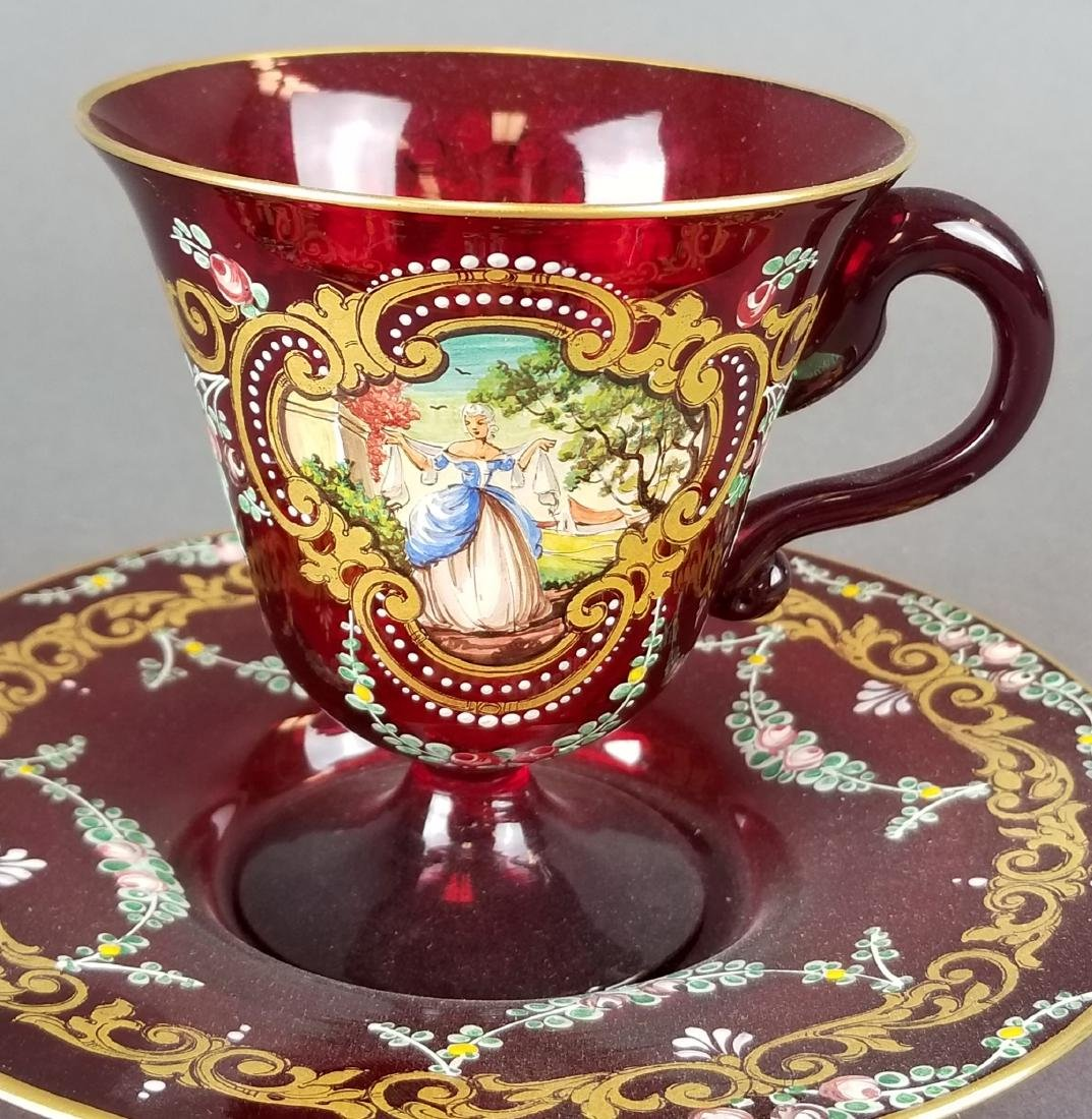 Italian Hand Painted Glass Cup & Saucer - 2