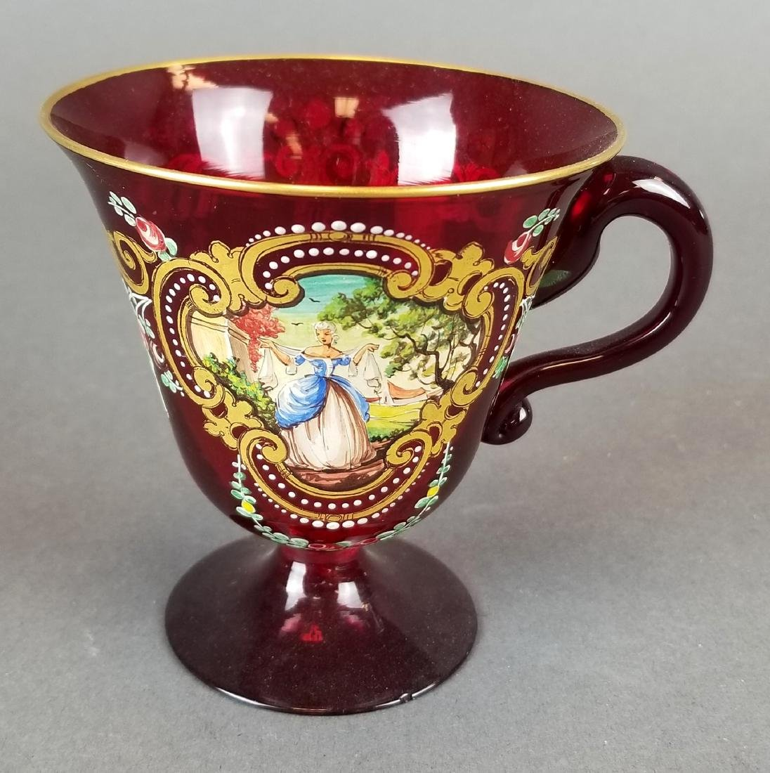 Italian Hand Painted Glass Cup & Saucer - 4