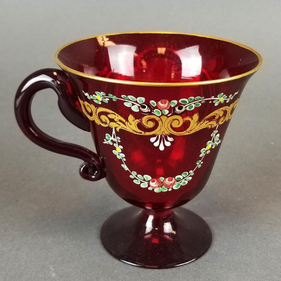 Italian Hand Painted Glass Cup & Saucer - 5