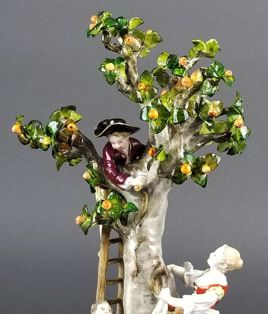19th C. Meissen Porcelain Figural Group picking Oranges - 3
