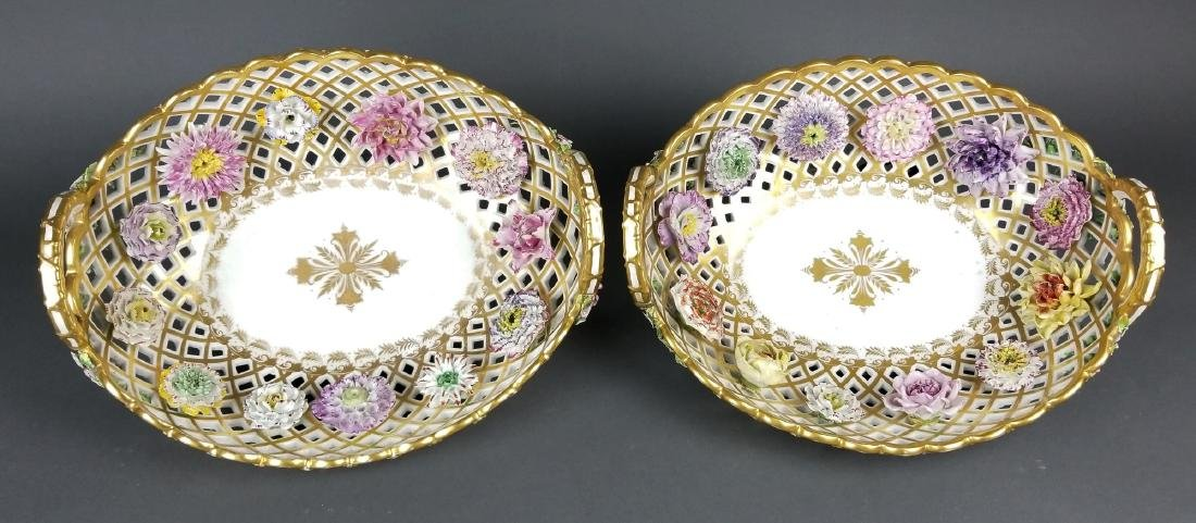Pair of 19th C. Dresden Reticulated and Floral