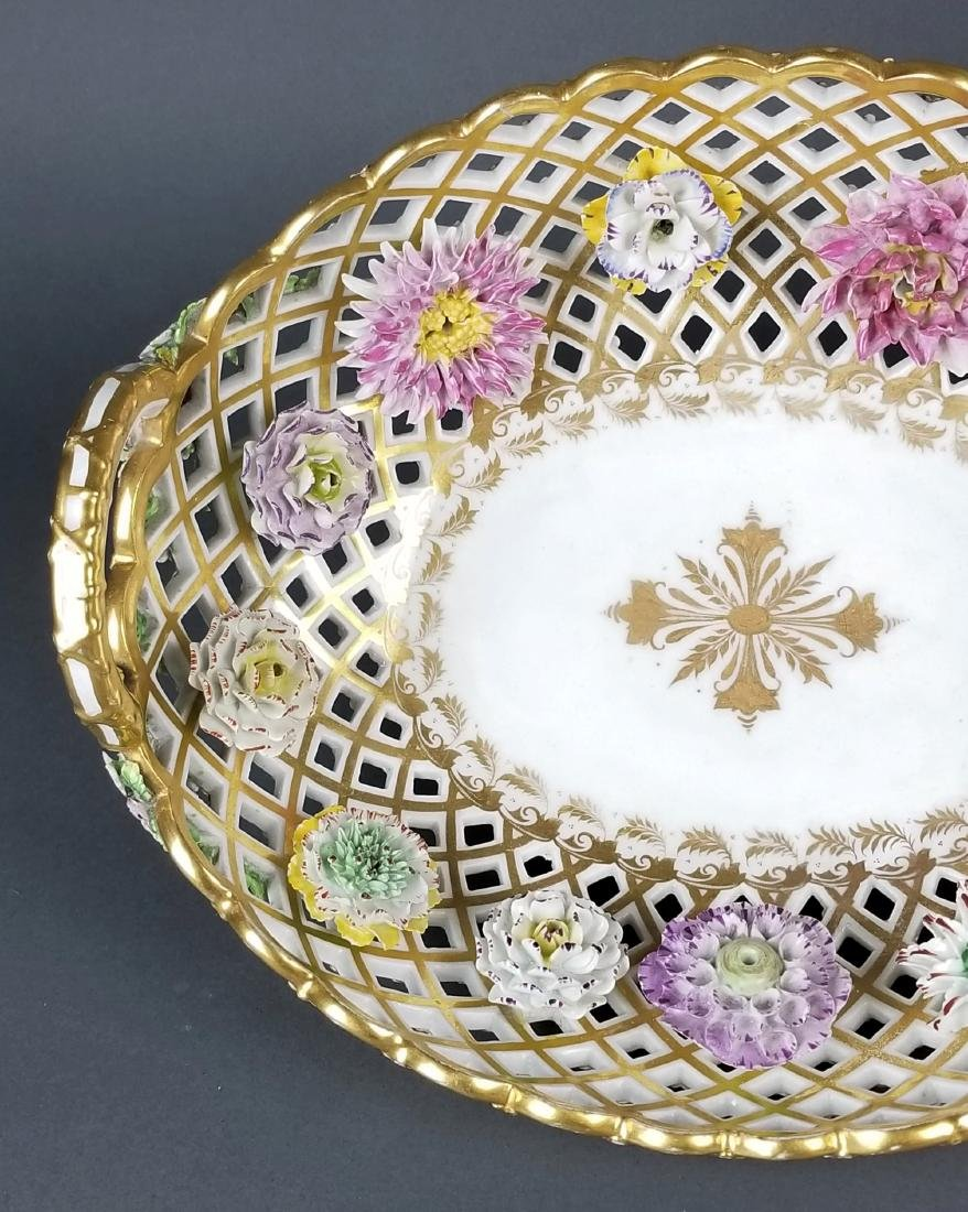 Pair of 19th C. Dresden Reticulated and Floral - 2