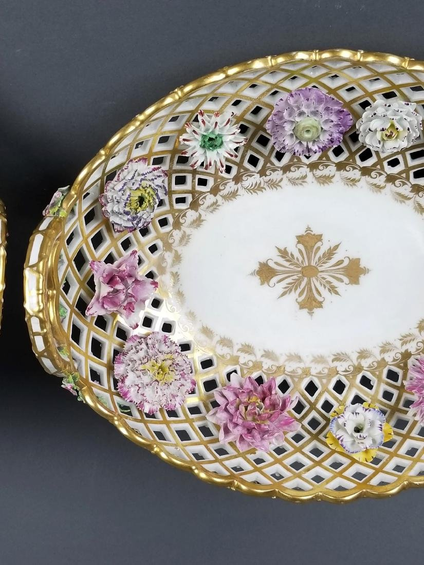 Pair of 19th C. Dresden Reticulated and Floral - 3