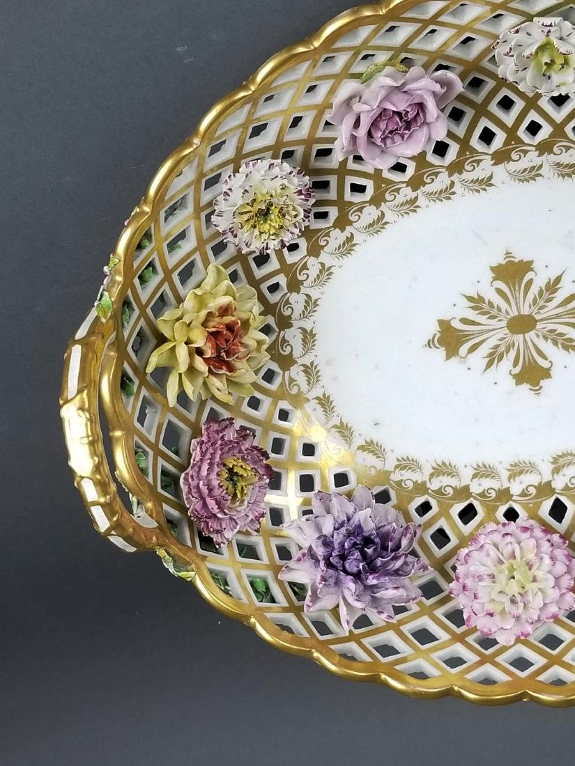 Pair of 19th C. Dresden Reticulated and Floral - 4
