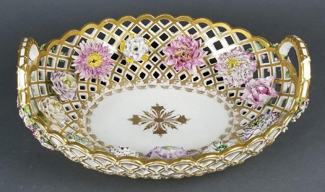 Pair of 19th C. Dresden Reticulated and Floral - 5