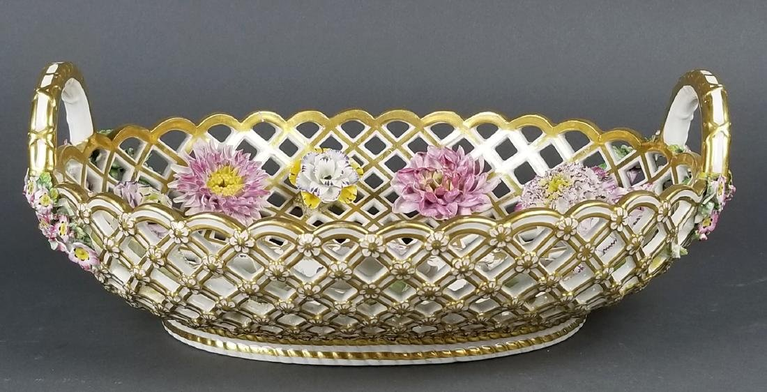 Pair of 19th C. Dresden Reticulated and Floral - 6