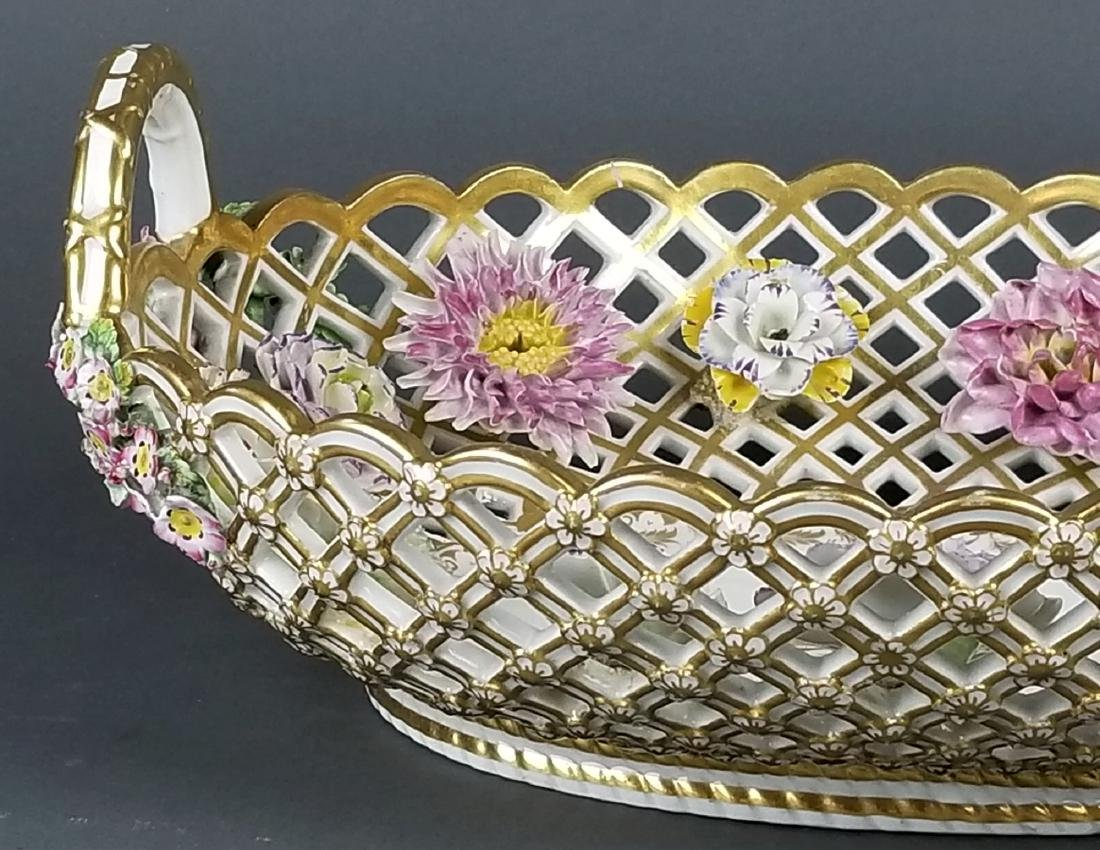 Pair of 19th C. Dresden Reticulated and Floral - 7
