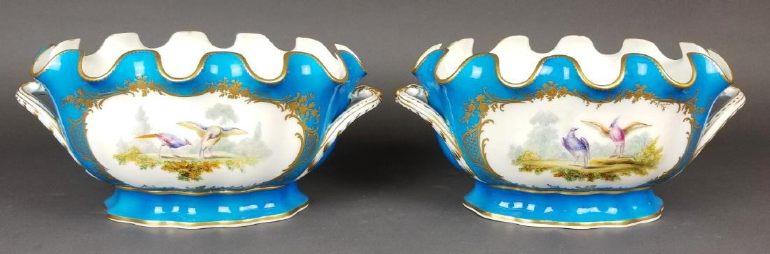 19th C. Pair of Sevres French Porcelain Vases - 5