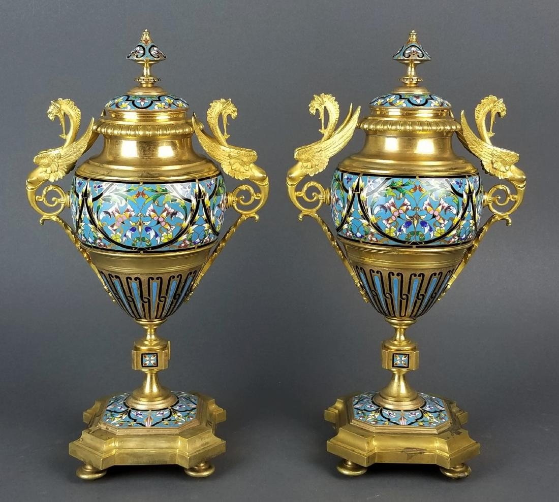 Pair of Large French Champleve Enamel and Bronze Urns,