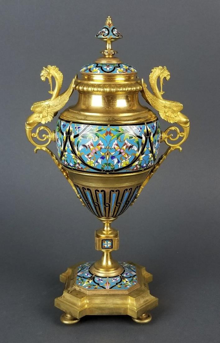 Pair of Large French Champleve Enamel and Bronze Urns, - 2