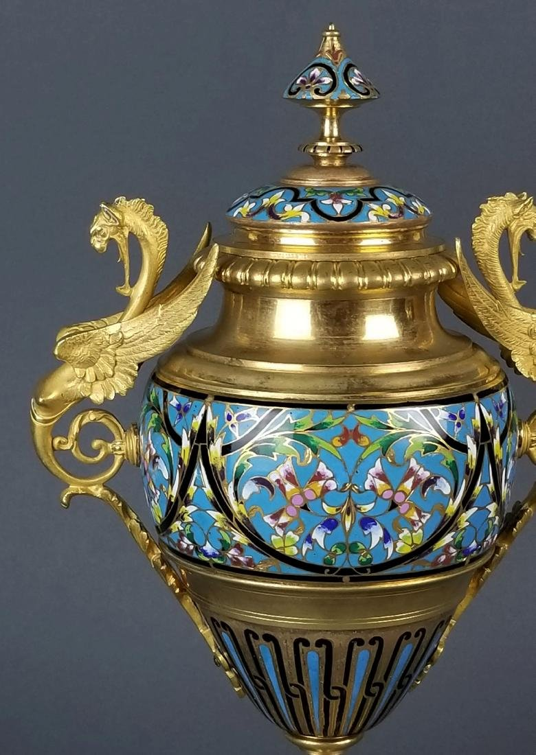 Pair of Large French Champleve Enamel and Bronze Urns, - 3