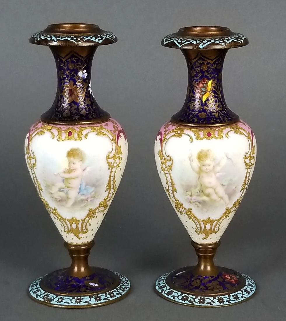 Pair of 19th C. French Champleve Enamel Urns