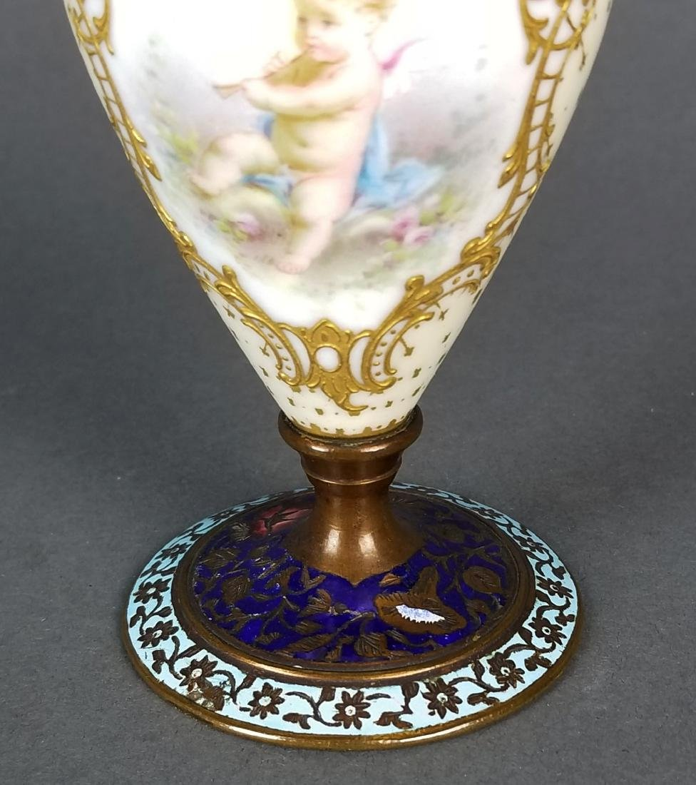 Pair of 19th C. French Champleve Enamel Urns - 5
