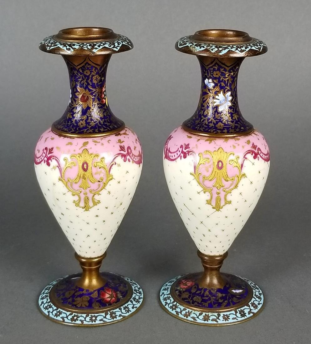 Pair of 19th C. French Champleve Enamel Urns - 9