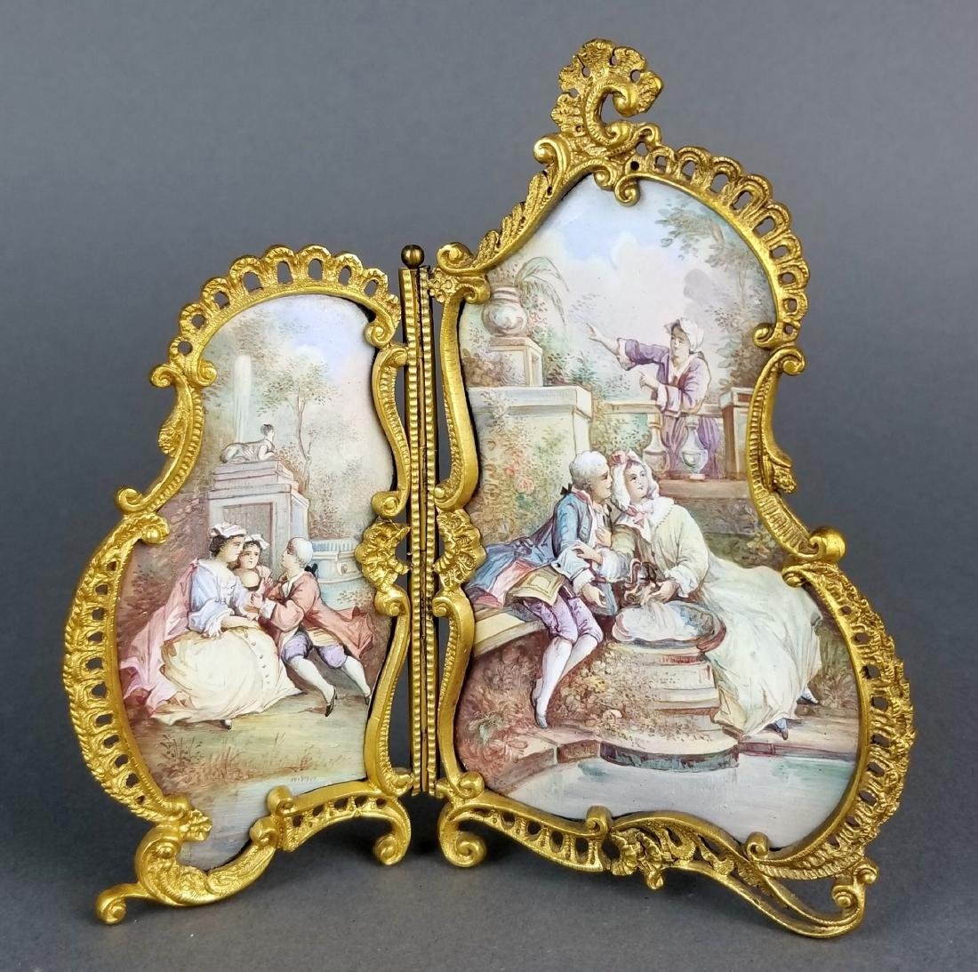 19th C. Austrian Viennese Enamel Folding Screen
