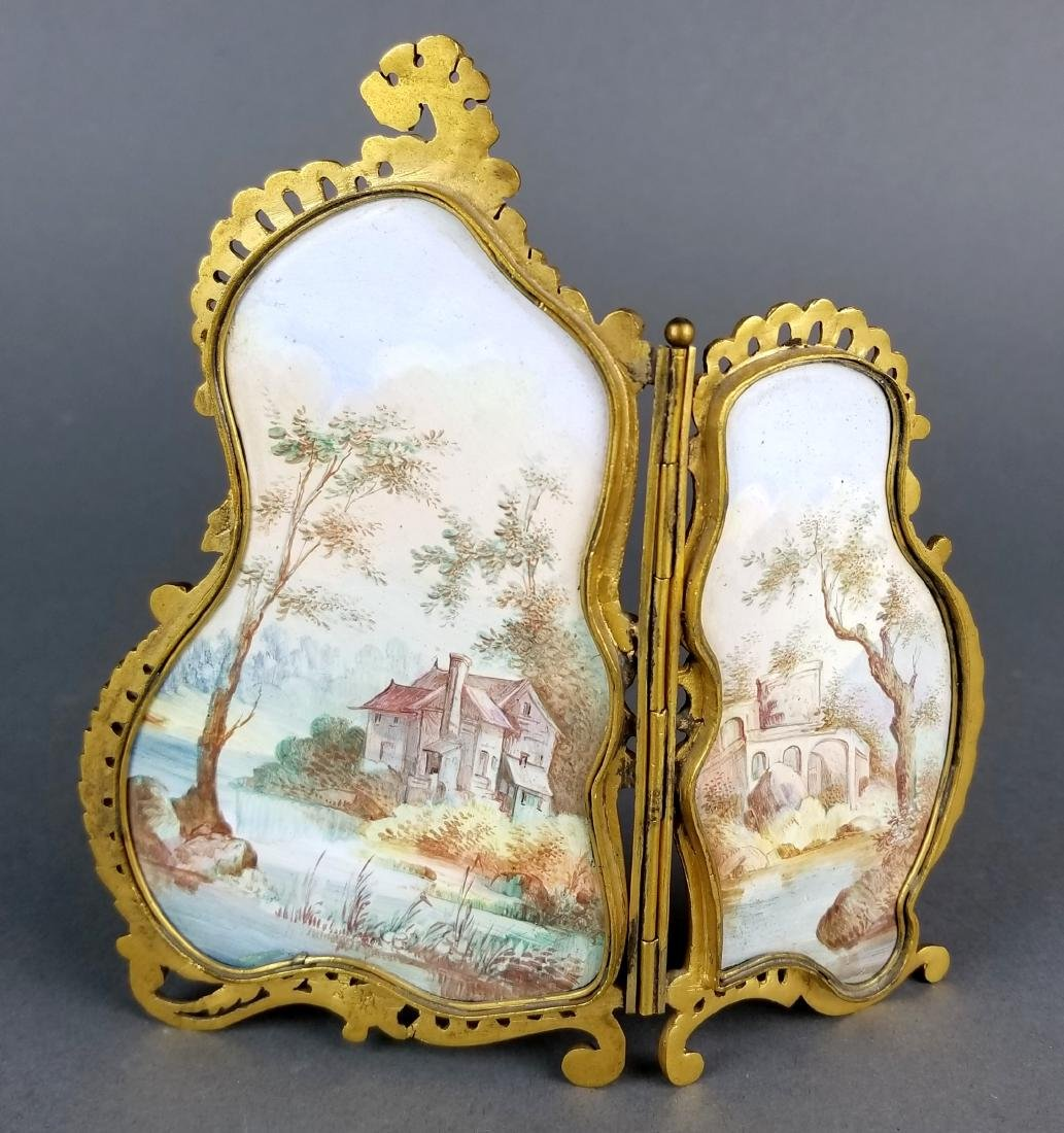 19th C. Austrian Viennese Enamel Folding Screen - 4