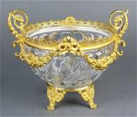 19th C French Baccarat Crystal Bronze Mounted Vase