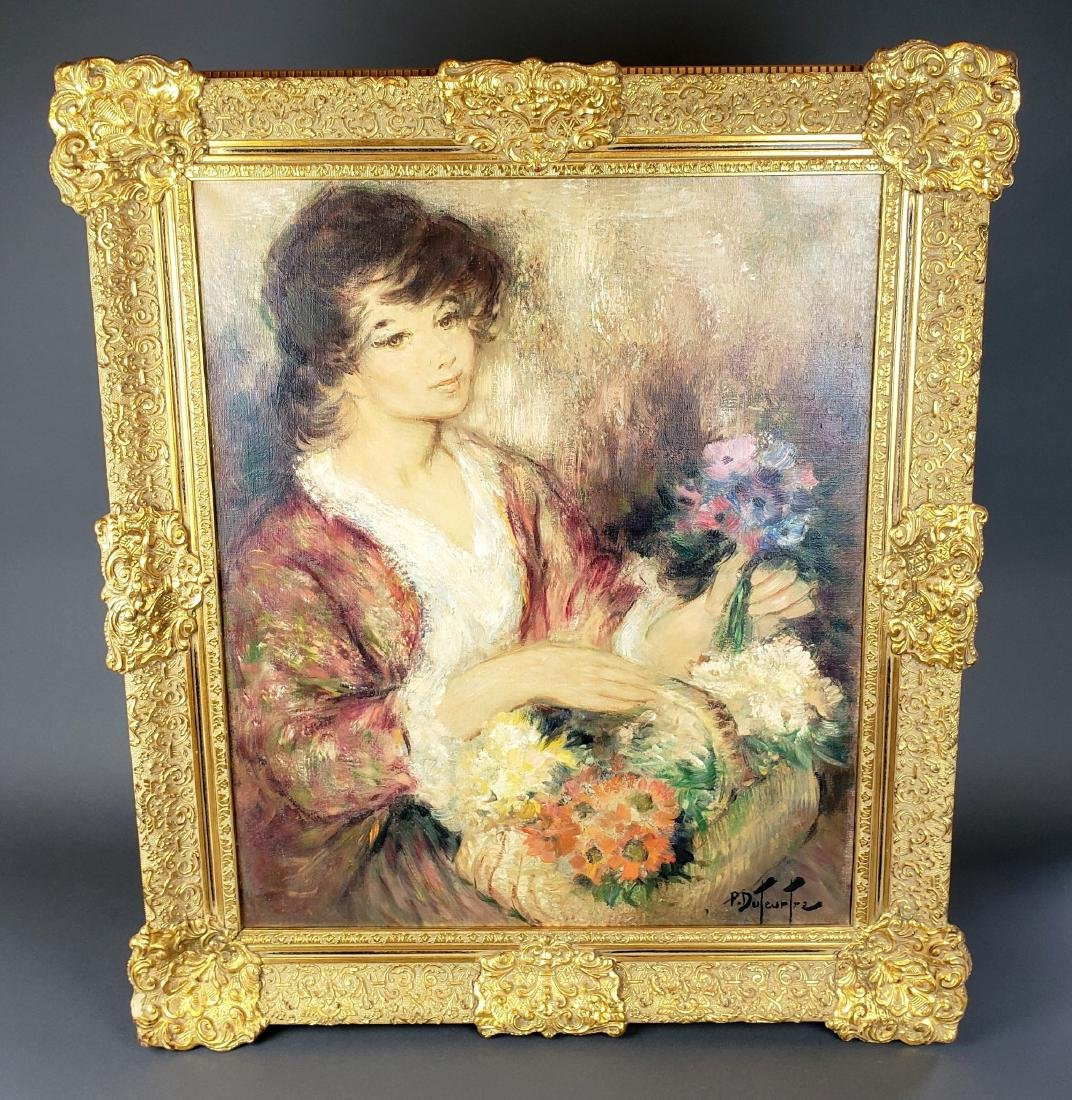 Exquisite Painting of Woman w/ Flowers Signed P.