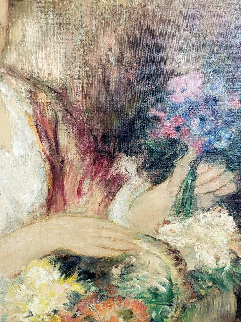 Exquisite Painting of Woman w/ Flowers Signed P. - 3