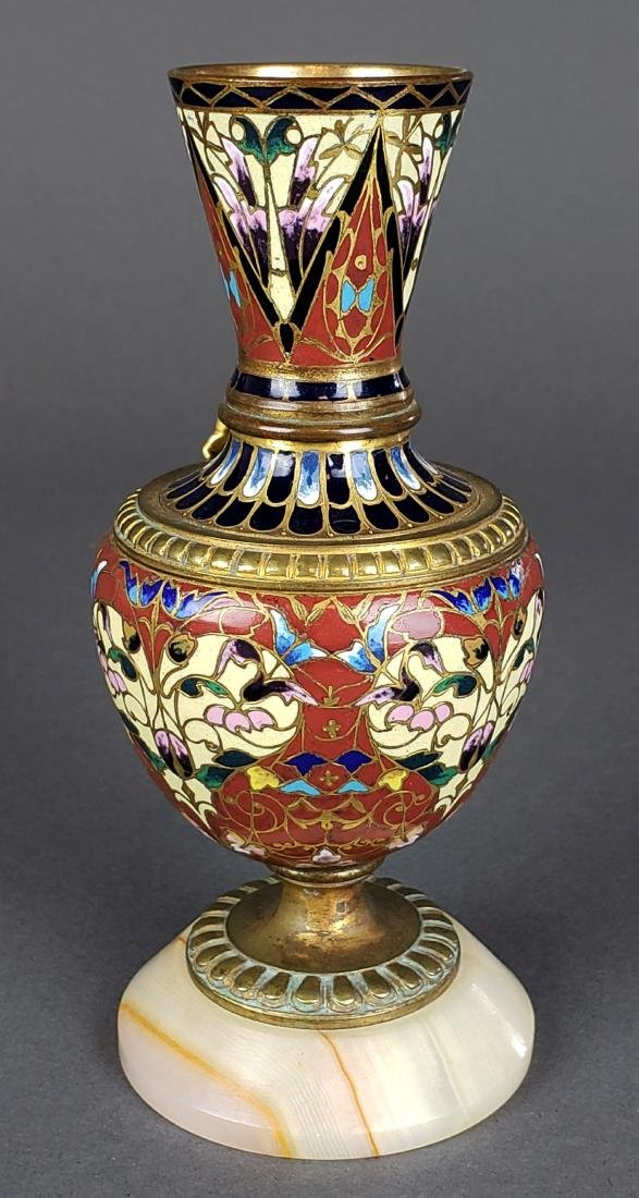French Champleve Enamel & Bronze Figural Vase - 4