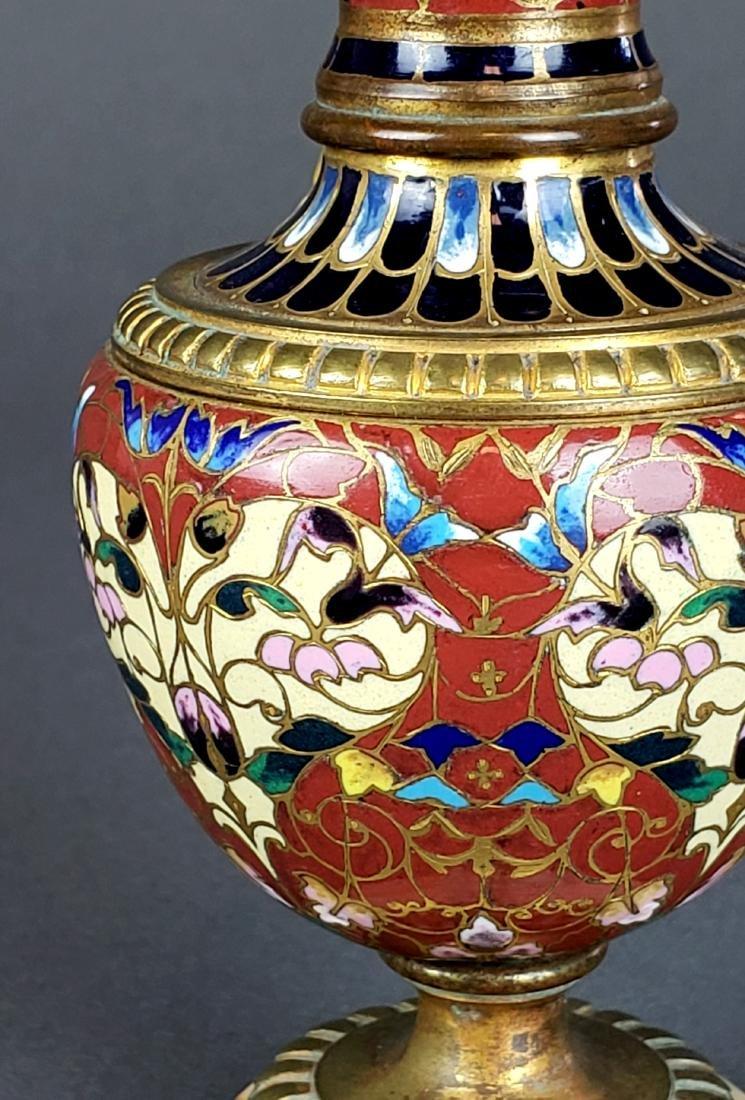 French Champleve Enamel & Bronze Figural Vase - 5