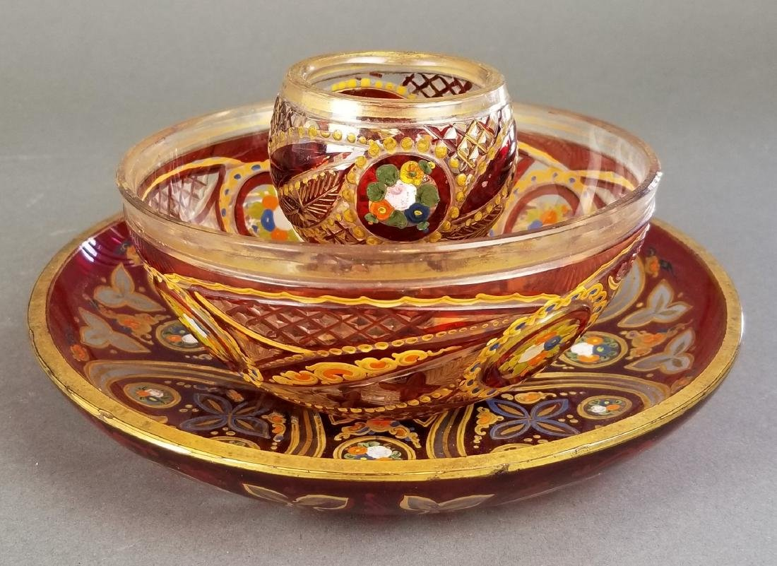 Set of 3 19th C. Enamelled Bohemian Dishes