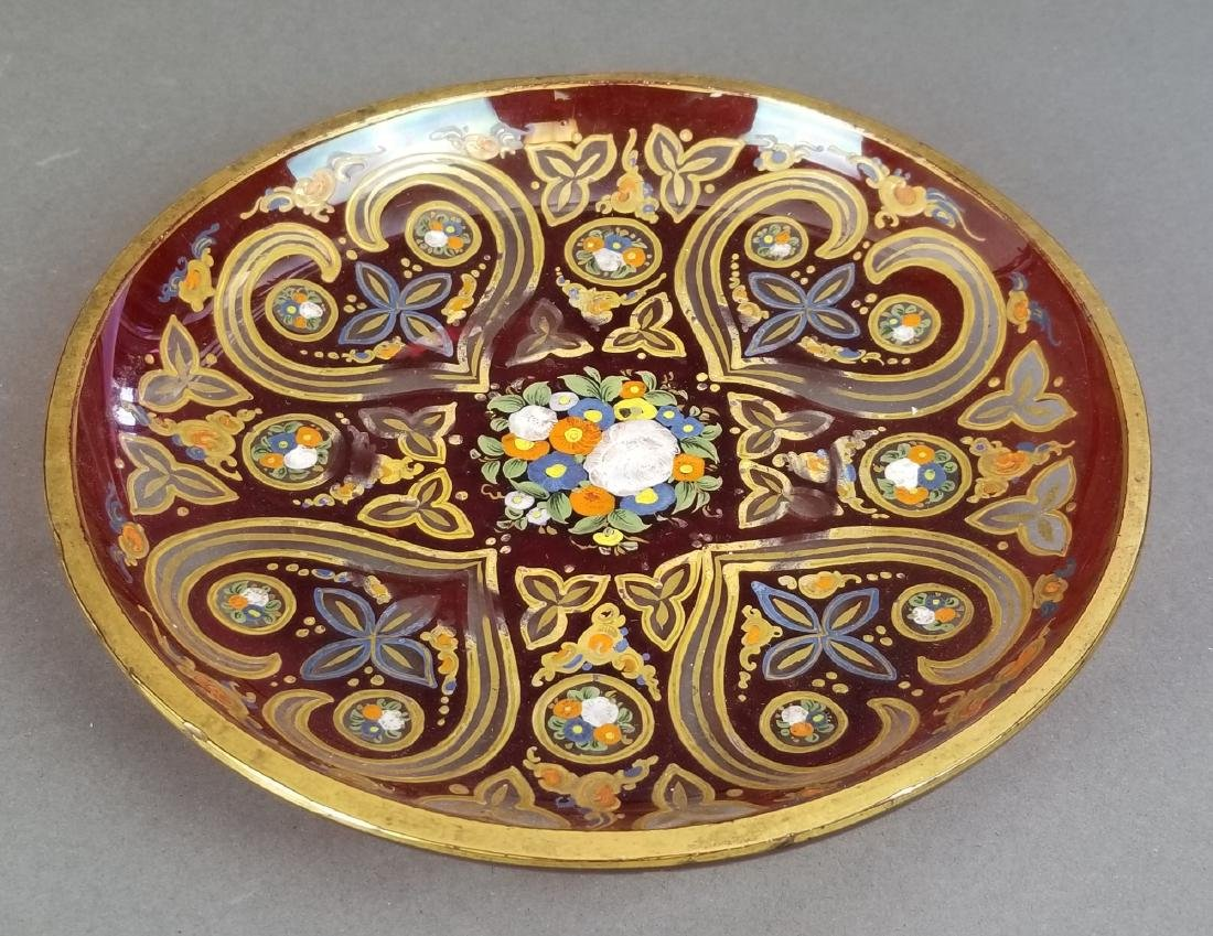 Set of 3 19th C. Enamelled Bohemian Dishes - 2