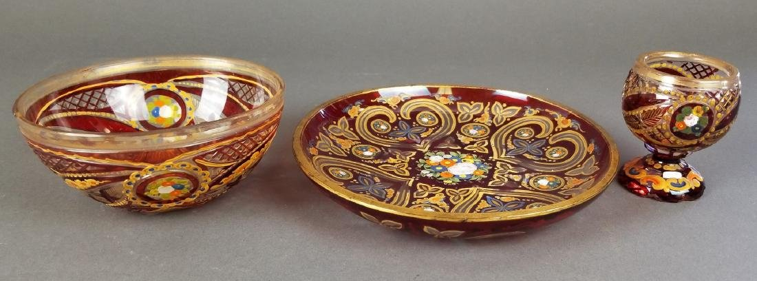 Set of 3 19th C. Enamelled Bohemian Dishes - 5