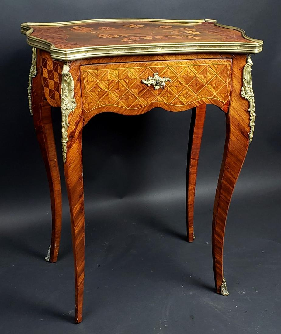 Louis XV Style Bronze Mounted Parquetry Table