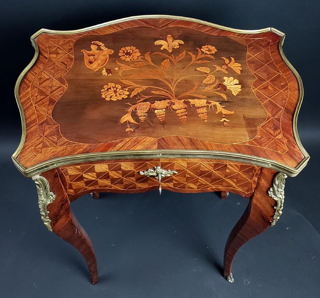 Louis XV Style Bronze Mounted Parquetry Table - 2
