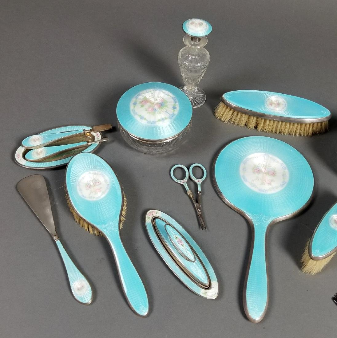 A Late 19th C. 17 Pc. Enamel and Sterling Silver Vanity - 2