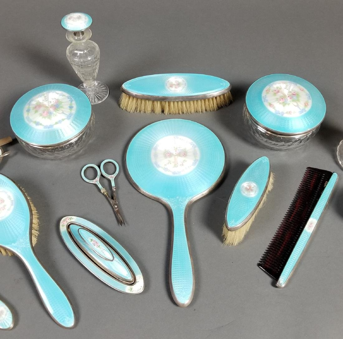 A Late 19th C. 17 Pc. Enamel and Sterling Silver Vanity - 3
