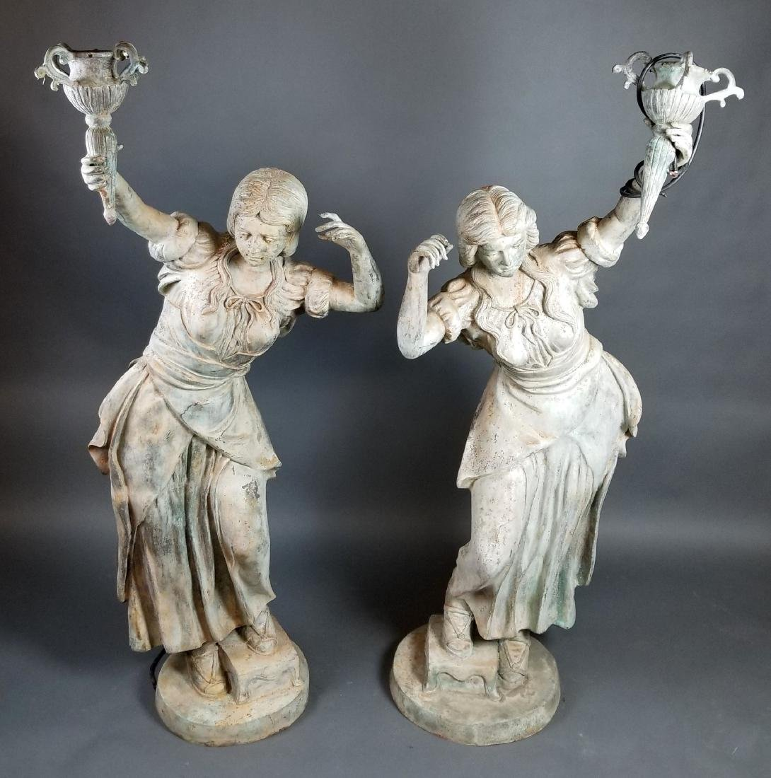 Pair of Large 20th C. Patinated Bronze Statue Lamps