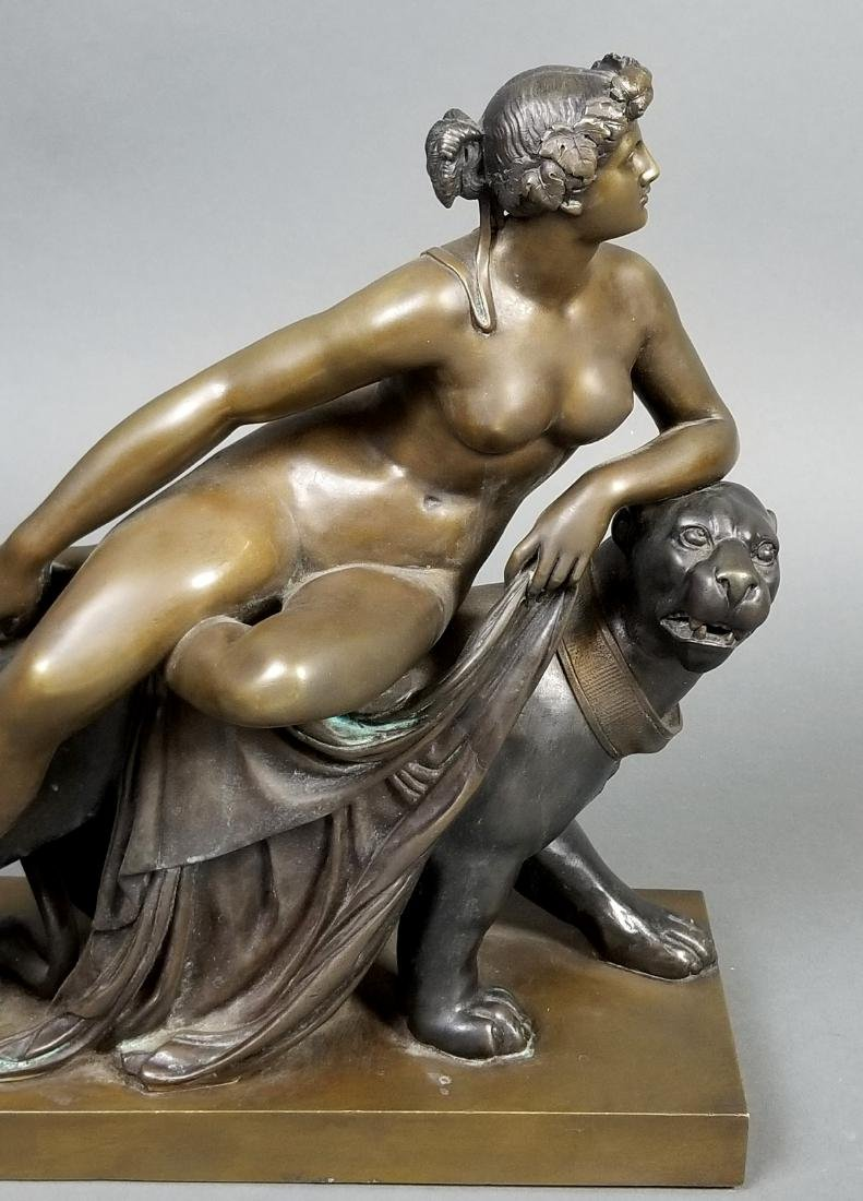 Art Deco Bronze Group of Woman and Puma, C. 1920's - 2