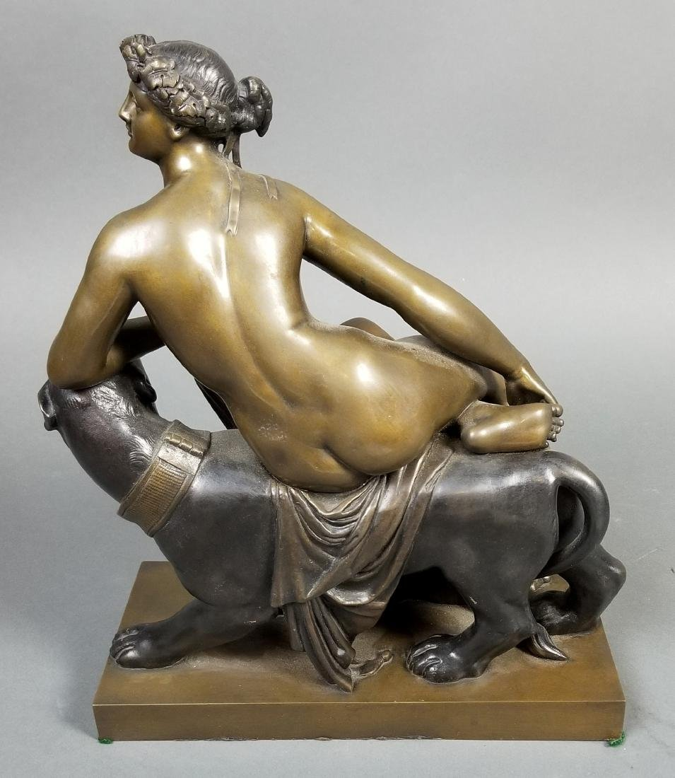 Art Deco Bronze Group of Woman and Puma, C. 1920's - 4