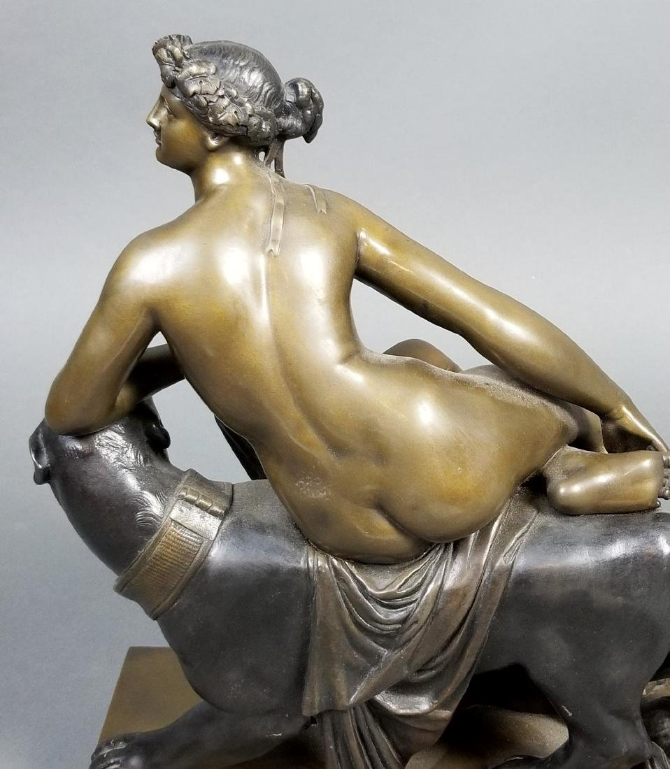 Art Deco Bronze Group of Woman and Puma, C. 1920's - 5