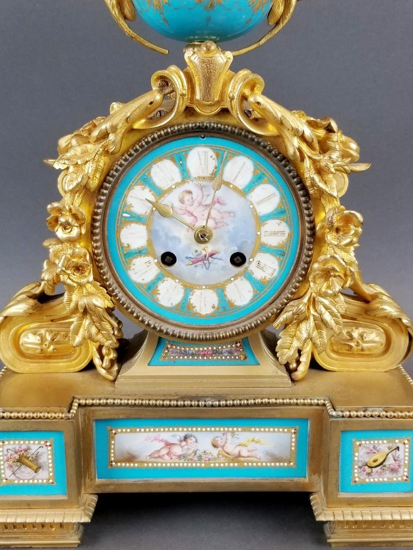 French Bronze & Sevres Porcelain Jewelled Clock - 2