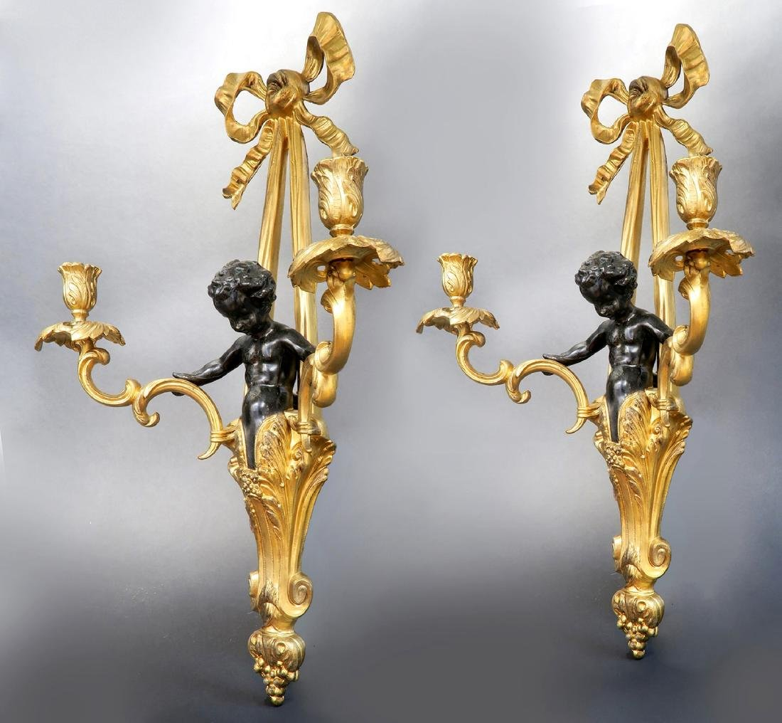 Pair Of Figural Bronze Wall Sconces - 2