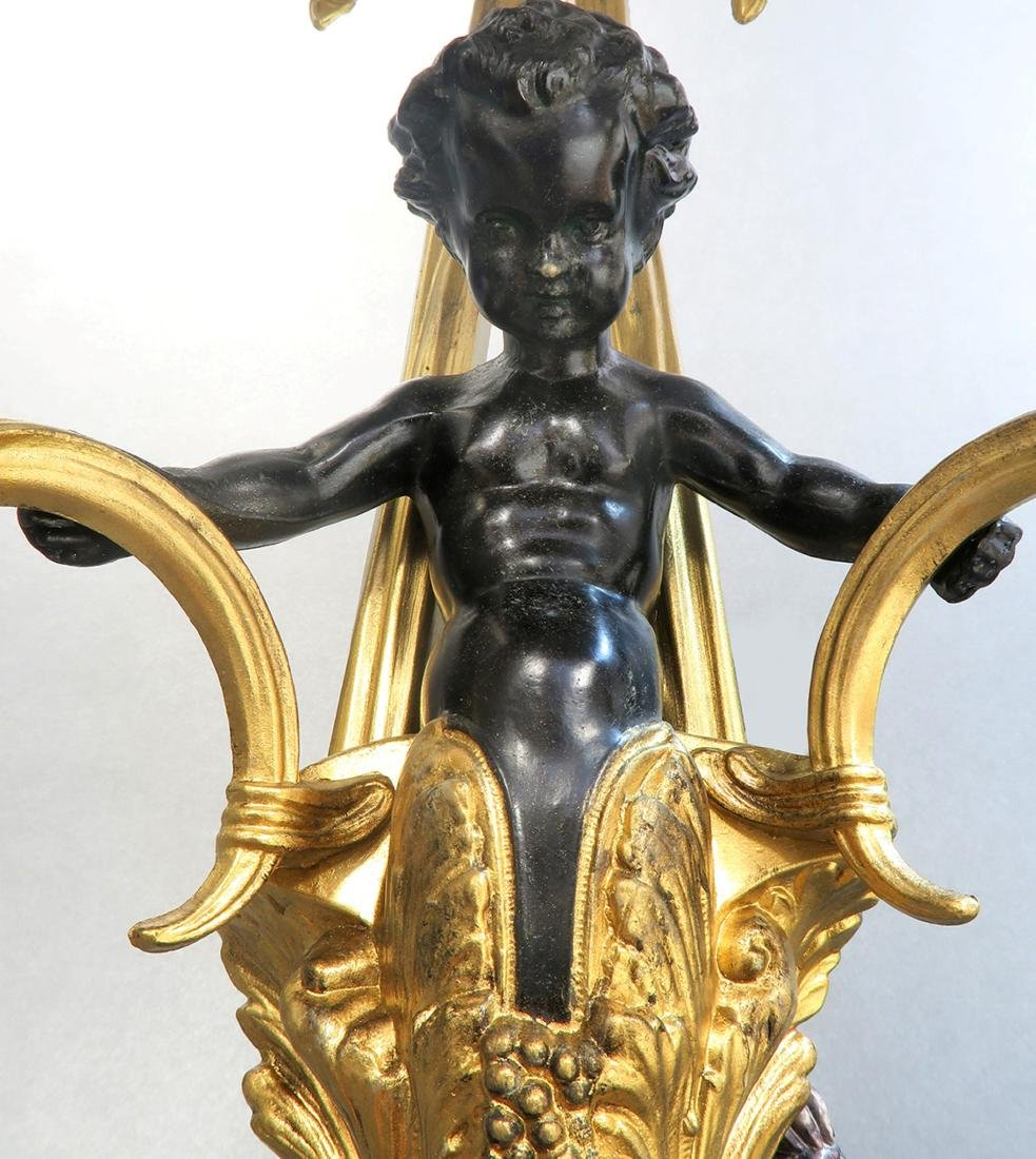 Pair Of Figural Bronze Wall Sconces - 4