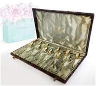 """Tiffany & Co Gilted Sterling Silver Tea Spoon 4"""" Set"""