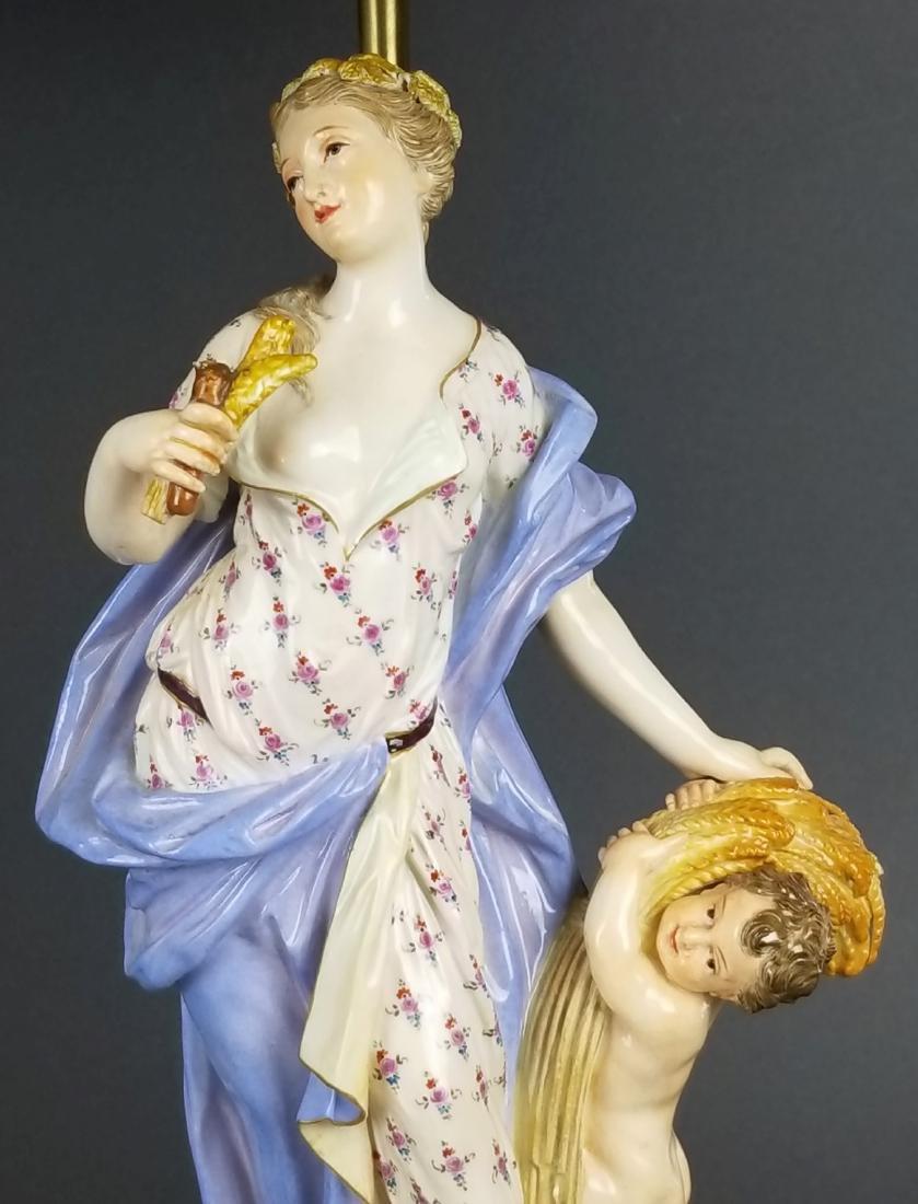 Pair of 19th C. Meissen Figural Lamps - 5